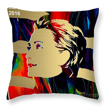 Hillary Clinton Gold Series Throw Pillow by Marvin Blaine