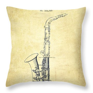 Saxophone Patent Drawing From 1937 - Vintage Throw Pillow by Aged Pixel