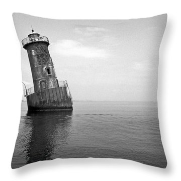 Sharps Island Lighthouse Throw Pillow by Skip Willits