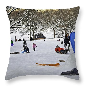 Snowboarding  In Central Park  2011 Throw Pillow by Madeline Ellis