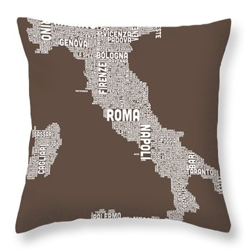 Text Map Of Italy Map Throw Pillow by Michael Tompsett