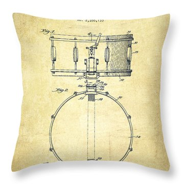 Snare Drum Patent Drawing From 1939 - Vintage Throw Pillow by Aged Pixel