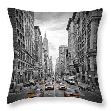 5th Avenue Yellow Cabs Throw Pillow by Melanie Viola