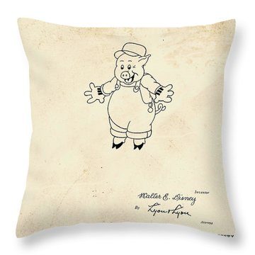 Disney Pig Patent Throw Pillow by Marlene Watson