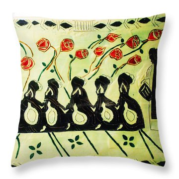 Five Wise Virgins Throw Pillow by Gloria Ssali