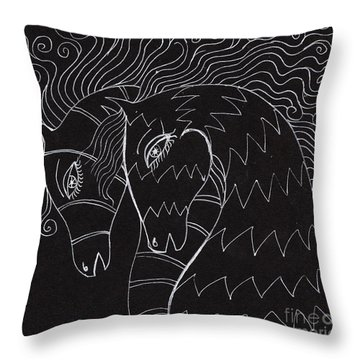 Horses Throw Pillow by Angel  Tarantella