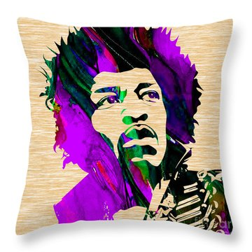 Jimi Hendrix Collection Throw Pillow by Marvin Blaine
