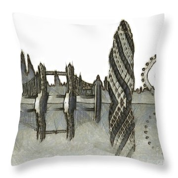 London Skyline Throw Pillow by Michal Boubin