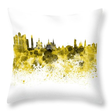 Moscow Skyline White Background Throw Pillow by Pablo Romero