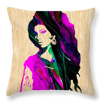 Amy Winehouse Collection Throw Pillow by Marvin Blaine