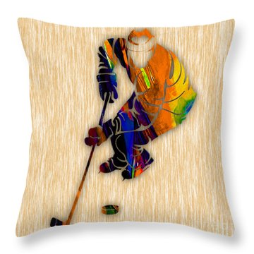 Hockey Throw Pillow by Marvin Blaine