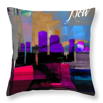New Orleans Skyline Watercolor Throw Pillow by Marvin Blaine