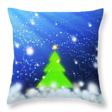 Christmas Tree Throw Pillow by Atiketta Sangasaeng