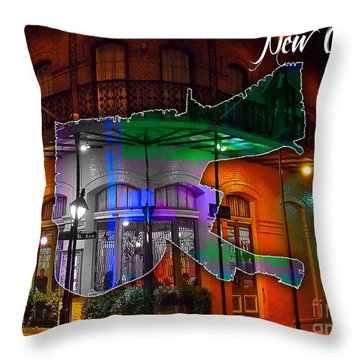 New Orleans Map Watercolor Throw Pillow by Marvin Blaine