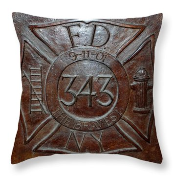 9 11 01 F D N Y 343 Throw Pillow by Rob Hans