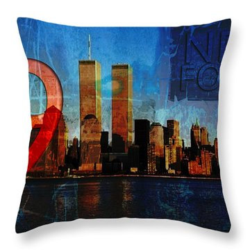 911 Never Forget Throw Pillow by Anita Burgermeister