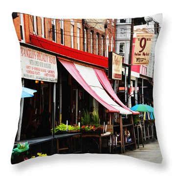 9th Street Italian Market Philadelphia Throw Pillow by Bill Cannon