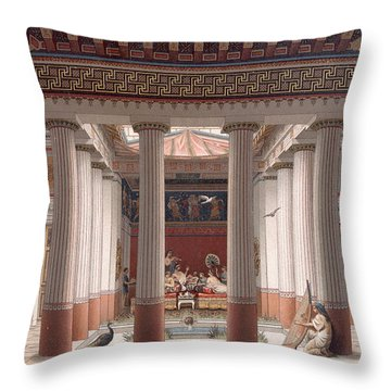 A Banquet In Ancient Greece Throw Pillow by Nordmann