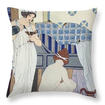 A Bath Seat Throw Pillow by Joseph Kuhn-Regnier
