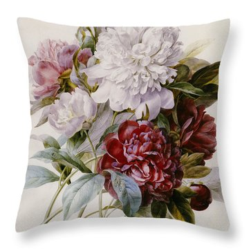 A Bouquet Of Red Pink And White Peonies Throw Pillow by Pierre Joseph Redoute