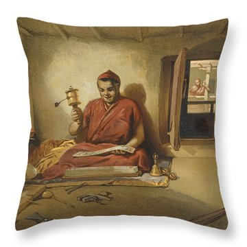 A Buddhist Monk, From India Ancient Throw Pillow by William 'Crimea' Simpson