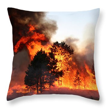 Throw Pillow featuring the photograph A Burst Of Flames From The White Draw Fire by Bill Gabbert