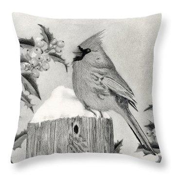Cardinal And Holly Throw Pillow by Sarah Batalka