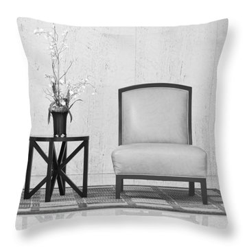 A Chair And A Table With A Plant  Throw Pillow by Rudy Umans