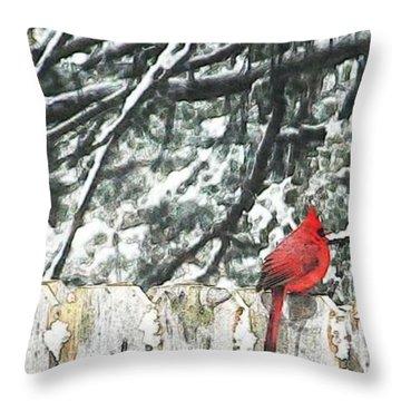 A Christmas Cardinal Throw Pillow by PainterArtist FIN
