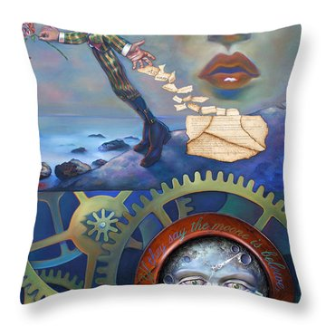 A Clockwerk Moone Is A Harsh Mistress Throw Pillow by Patrick Anthony Pierson