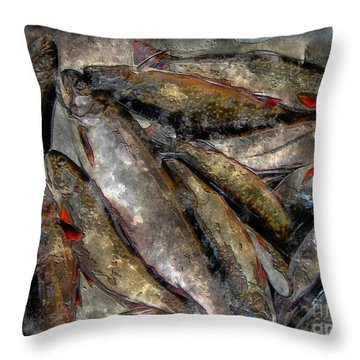 A Fine Catch Of Trout - Steel Engraving Throw Pillow by Barbara Griffin