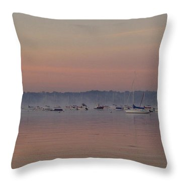 A Foggy Fishing Day Throw Pillow by John Telfer