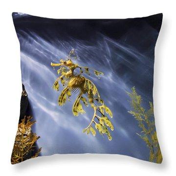 A Funny Seahorse--leafy Seadragon Throw Pillow by Angela A Stanton