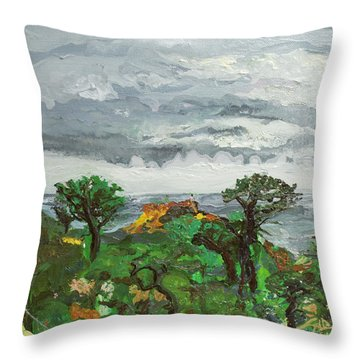 A Gathering Before Red Butte Throw Pillow by Joseph Demaree