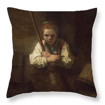 A Girl With A Broom Throw Pillow by Rembrandt