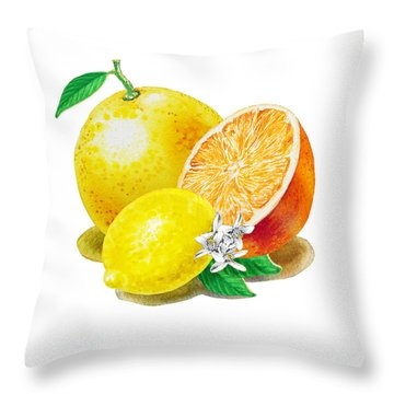 A Happy Citrus Bunch Grapefruit Lemon Orange Throw Pillow by Irina Sztukowski