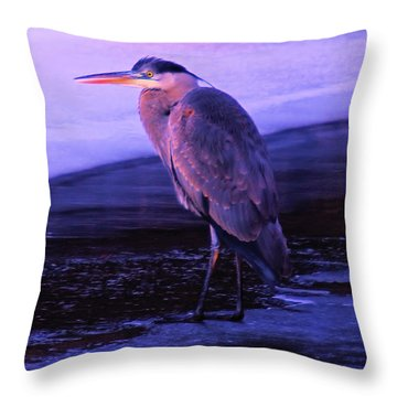 A Heron On The Moyie River Throw Pillow by Jeff Swan