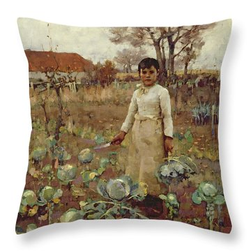 A Hinds Daughter, 1883 Oil On Canvas Throw Pillow by Sir James Guthrie