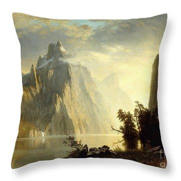 A Lake In The Sierra Nevada Throw Pillow by Albert Bierstadt