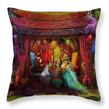 A Mad Tea Party Throw Pillow by Aimee Stewart