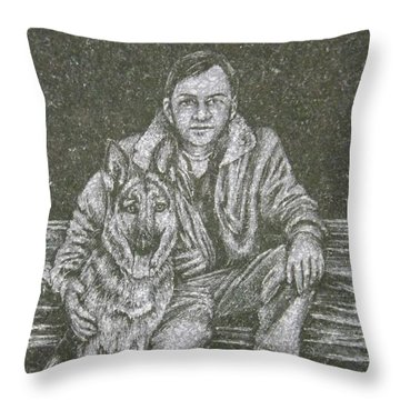 A Man And His Dog Throw Pillow by Dennis Pintoski