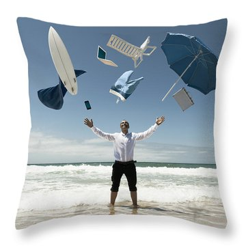 A Man Stands In The Ocean With Items Throw Pillow by Ben Welsh