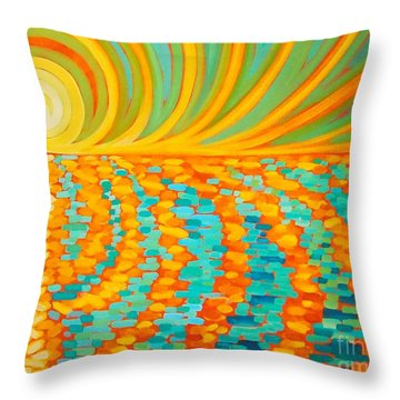 A New Day Is Dawning Throw Pillow by Janet McDonald