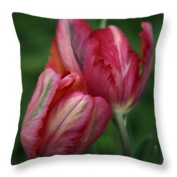 A Pair Of Tulips In The Rain Throw Pillow by Rona Black