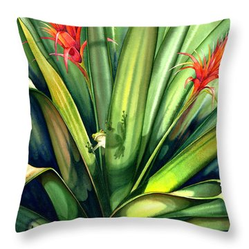 A Peek Through The Leaves Throw Pillow by Lyse Anthony