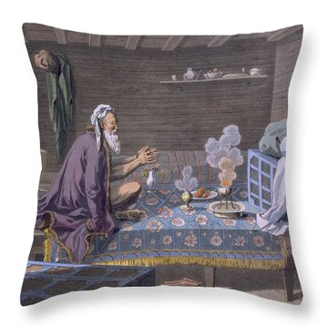 A Persian Doing His Morning Prayers Throw Pillow by E. Karnejeff