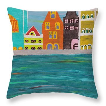 A Pink View Throw Pillow by Melissa Vijay Bharwani