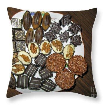 A Plate Of Chocolate Sweets Throw Pillow by Ausra Huntington nee Paulauskaite