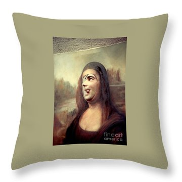 A Profile Of Mona Lisa Throw Pillow by Michael Hoard
