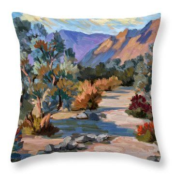 A Quiet Walk In Smoketree Forest Throw Pillow by Diane McClary